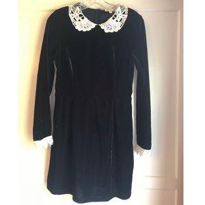 Black velvet dress with lace collar